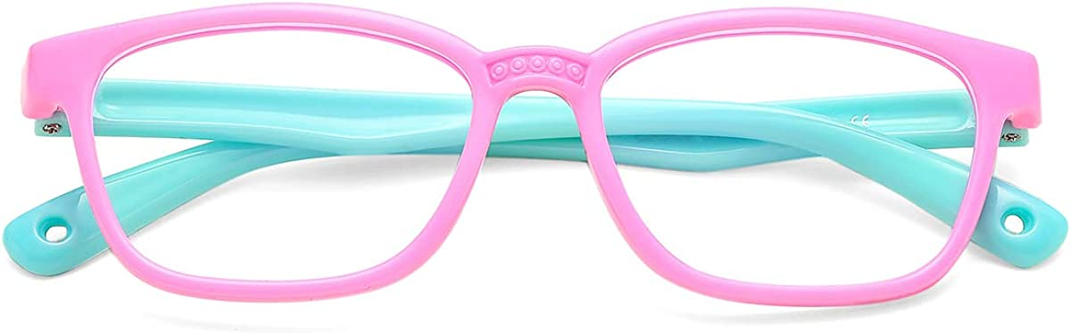 COASION Kids Blue Special sale item Light Blocking Square Glasses Nerd Ey OFFicial store Flexible