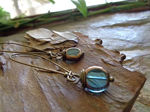 ⊹⊱  ANTIGUO VIDRIO TURQUESA  ⊰⊹ Pendientes vintage de bronce en celeste, azul, turquesa