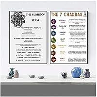 BINGJIACAI Chakra e il loro significato Tela Pittura Meditazione Citazione ispiratrice Poster Yoga Conoscenza del corpo Stampa Home Decor-42x60cmx2 Senza cornice