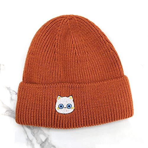 TIEDAN Sombrero de Lana cálido, patrón Bordado de Mujer, Gorro de Punto con cúpula de Aleros de Color sólido Rizado en Invierno Talla única-Naranja