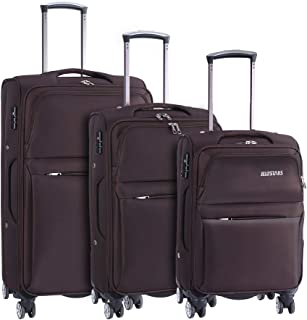 3-Piece Spinner Luggage Sets with Buit-In TSA Lock 4 Mute Double-Wheels Softside Travel Suitcase for Men Women Carry-On 20 inch 24 inch 28 inch Coffee Color