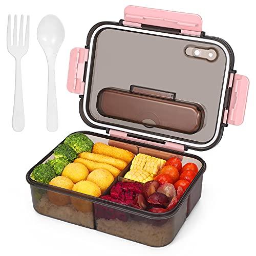 Boîte à bento pour adultes et enfants, boîte à lunch en plastique à emporter et boîte de rangement pour aliments, style bento polyvalent à 3 compartiments - 1500 ML (rose)