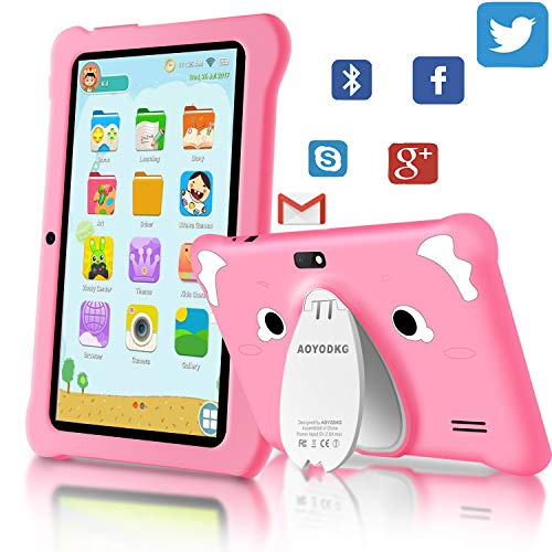 Tablet para Niños Android 9.0 (Certificación Google GMS) 3GB RAM+32GB ROM/128GB 7.1 Pulgadas HD 5.0MP Cámara Quad Core Tablet Infantil de Kid-Proof Funda Tablet Niños Educativo (Rosado)