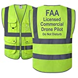 JKSafety 9 Pockets Class 2 High Visibility Zipper Front FAA Drone Pilot Safety Vest With Reflective Strips,HQ Breathable Mesh,Meets ANSI/ISEA Standards(210-Drone-Yellow XL)