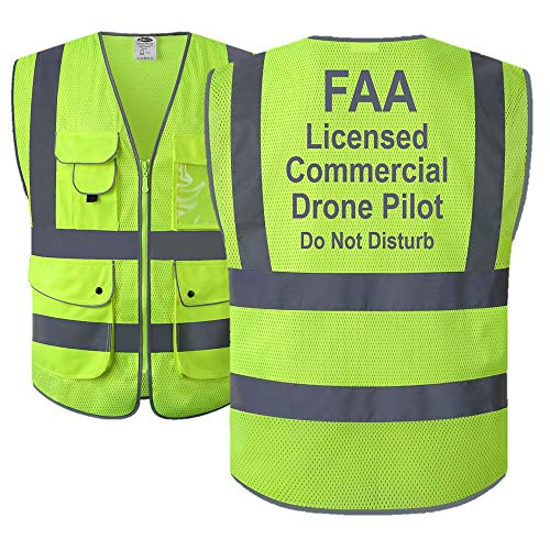JKSafety 9 Pockets Class 2 High Visibility Zipper Front FAA Drone Pilot Safety Vest With Reflective Strips, HQ Breathable Mesh,Meets ANSI/ISEA Standards(Large, Drone-Yellow)