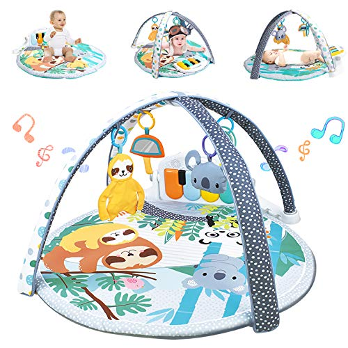 WYSWYG Baby Play Mat Piano Gym 3-in-1 Infant Playmat with Music and Sounds - Baby Activity Playmats for Tummy Time - Jungle Themed Baby Gyms Floor Mat Infants Toys Gifts 0-3, 3-6, 0 6, 6-12 Months Old