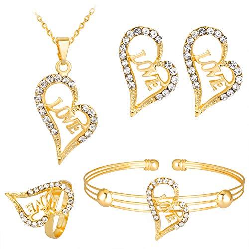 Schmuck-Set, Halskette mit Herz-Anhänger und Ohrringen, Armband und Ring, goldfarben
