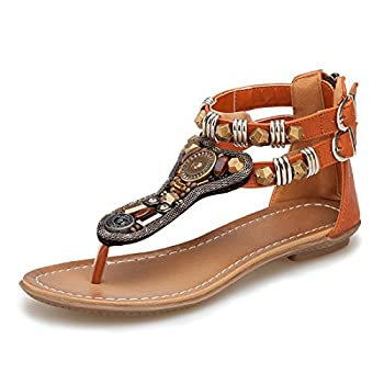 iCKER Women s Ankle Strappy Gladiator Sandals Beach Bohemia Thong Flat Sandal Shoes 0989-Brown-8.5