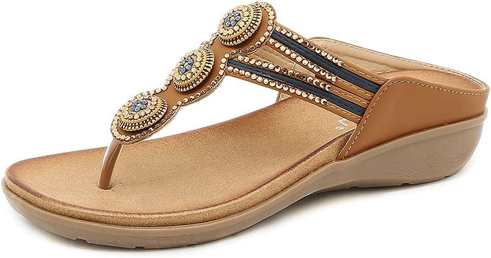 ZAPZEAL Sandals for Women Casual Summer Rhinestone Beaded Wedge Sandal Platform Flip Flops Ladies Gladiator Sandals Slip On Slides Sandals for Holiday Boho Beach Shoes, Size 6.5-10 US