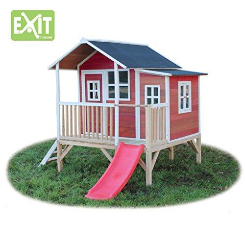 EXIT Loft 350 rotbraun / Spielhäuschen auf Stelzen mit Veranda+Rutsche / Material: Zedernholz / Maße: 170 cm x 171 cm x 225 cm / 146 kg / ab