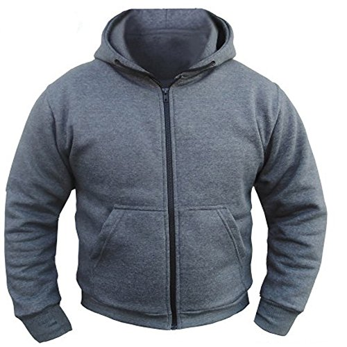 CE Armoured 100% Full Kevlar Ultimate Protection Grey Hoodie Jacket Hoody Fleece (Med = 40
