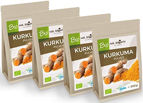 Mr. Brown BIO Kurkuma Pulver | aus Indien | Curcuma Pulver | Kurkuma, gemahlen | Gewürz zum Kochen und Backen | aus kontrolliert biologischem Anbau (1 kg)