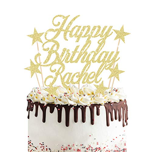 Personalised Birthday Cake Topper 7PCS Custom Any Name Cake Decoration with 6 Stars Double Sided Glitter Card Birthday Party-Multicolour Glitter Cupcake Decoration
