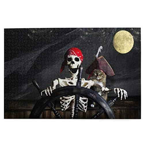 Rompecabezas de entretenimiento como juego de regalo para boda 1000 piezas de madera, capitán, gato, barco pirata, cráneo, control del timón, rompecabezas
