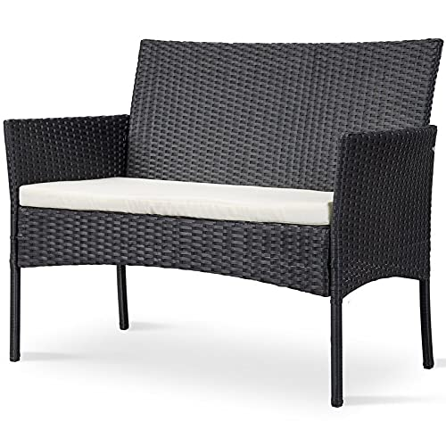 GardenCo Rattan 2 Seat Bench - Garden Sofa with Cushion - Addition to Garden Furniture Set - Indoor and Outdoor Suitable (Black)