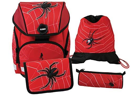 FUNKI Joy-Bag Spider, 4-delige starterset voor meisjes en jongens, complete set van schooltas, etui, ronde tas en gymtas met spinnenmotief, polyester, 3