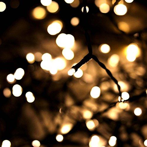 CHICCIE Guirlande lumineuse LED pour l'extérieur - Avec double minuteur, batterie et câble noir - 120 LED - 9,40 m