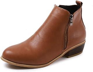 050a33861f326 Boots Femme Talon Bottine Femmes Hiver Daim Cuir Bottes Chelsea Low Chic  Cheville Compensées Grande Taille
