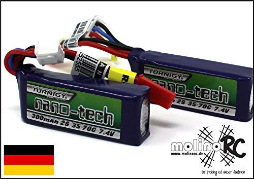 molinoRC 2x-Turnigy-nano-tech-300mah-2S-35-70C-NEU-Lipo-Akku-7-4V-JST