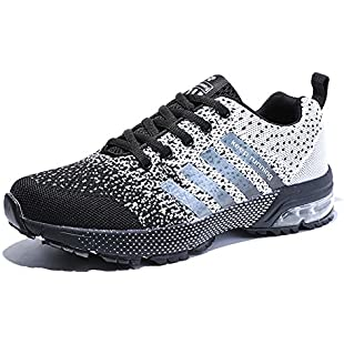 Customer reviews HMIYA Women Men Casual Sports Running Shoes Air Trainers Jogging Fitness Shock Absorbing Gym Athletic Sneakers(White Black,Size 11)
