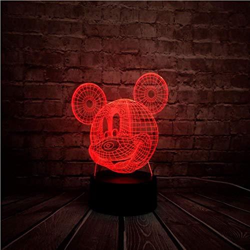3D Nachtlicht Novel 3D 7 Farbwechsel Micky Maus LED Bedside Fernbedienung USB Room Decor Nacht Stimmung Lampe Geburtstag Kindertag Geschenk