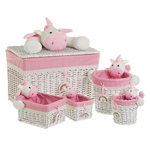 Baúl con 4 cestas de Mimbre Rosa Infantil para Dormitorio Child - LOLAhome