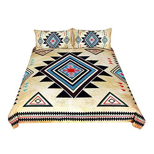 ZQCZ 3 Stück Bettbezüge, Vergilbte Geometrische Gedruckt Polyester Bettbezug Kissenbezug, Zwilling/Voll/Königin/König Größe,King