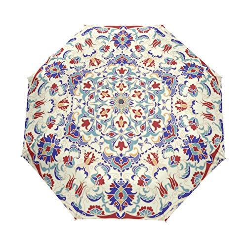 Hunihuni Mandala Islam Paraguas Plegable de Apertura automática, Resistente al Viento, Resistente al Agua, protección contra Rayos UV, Paraguas
