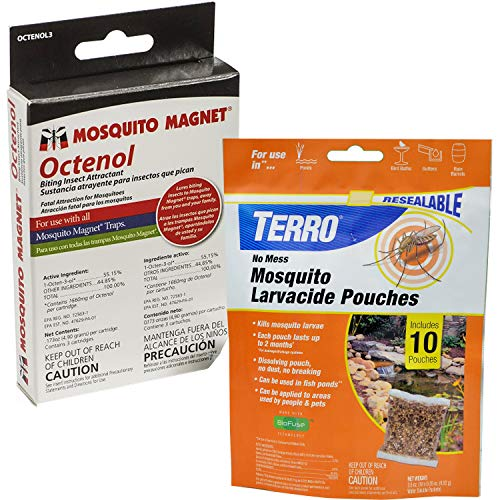 Mosquito Magnet Mosquito Control Value Pack - Includes 3 Ocetnol Insect Attractant & 10 TERRO Mosquito Larvacide Pouches