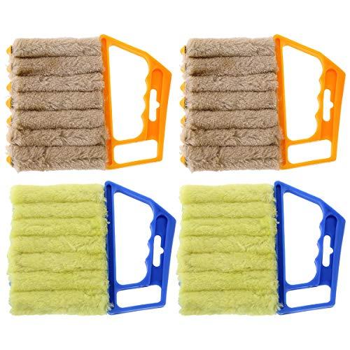 Zliger 4 Piezas Limpiador de Persianas Venecianas Plumero Cepillo Extraíble Cepillo Persianas Limpiador de Polvo Aire Acondicionado Cepillo de Limpieza Duster Dirt Clean Tool para Tareas Domésticas