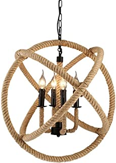 Home Equipment Vintage Hemp Rope Pendant Ceiling Light Retro Round 3 Ring Hanging Lamp Fixture for Bedroom Living Room Kit...