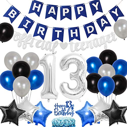 13th Birthday Party Decoration for Boys Blue and Silver Official Teenager Birthday Supplies Happy Birthday Banner Official Teenager Garland Cake Topper Number 13 Foil Balloons