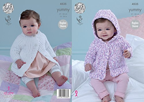 King Cole Baby Knitting Pattern Raglan Sleeved Hooded or Round Neck Jackets Yummy Chunky 4535