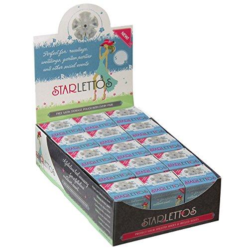 Starlettos Protectores de tacón–15Par Multipack–para zapatos en la hierba. Talla única, Crystal CLARO