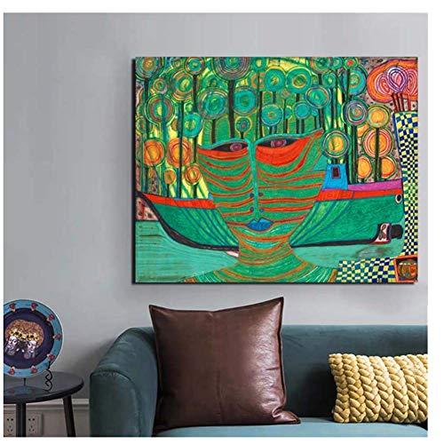 arteWOODS Friedensreich Hundertwasser Leinwand Malerei Druck Wohnzimmer Wohnkultur Moderne Wandkunst Poster-50x70cm Rahmenlos