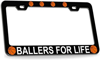 Custom Brother - Ballers for Life Basketball Black Metal License Plate Frame Auto Tag Holder