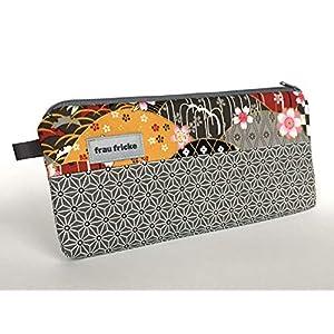 """Federmäppchen Federtasche""""Asanoha"""" aus japanischen Designerstoff mit Kirschblüten und Goldprint Stiftetasche Handytasche Handmade"""