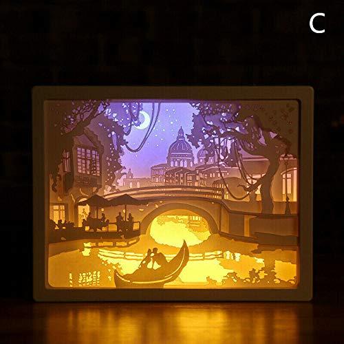 Papercut Light Box 3D Led Paper Carving Lamp,Creativity Shadow Night Lamp Paper Carving Art Night Lights Creative LED Table Lamp for Decoration (C)