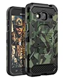 HUATRK Galaxy J3 2016 Case Kickstand Three Layer Shockproof Protective Camo Man Cover for Galaxy J3V/J3 6/Amp/Express Prime/Sky/Sol - Camouflage Green