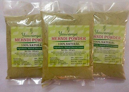 Yauvanya Original indien pur et naturel Mehndi (henné) pour les cheveux - 3X100 gms