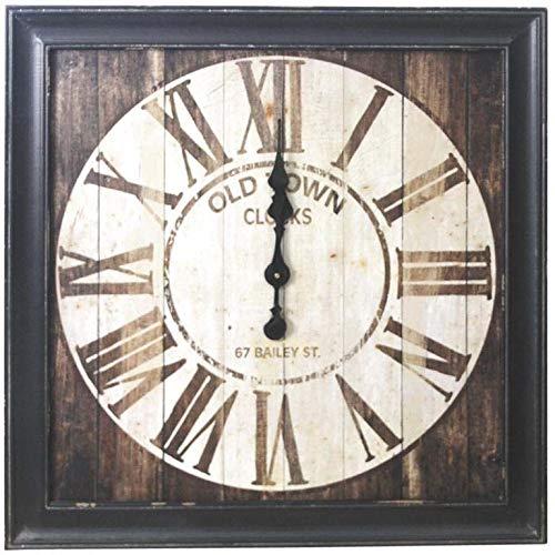 Horloge carrée en bois vieilli