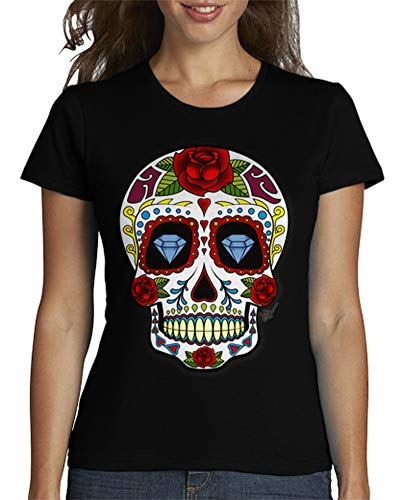 latostadora - Camiseta Calavera Mexicana para Mujer Negro L
