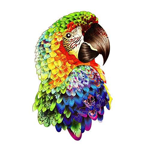 Holzpuzzles Papagei Einzigartige Form Puzzles für Erwachsene und Kinder Dekoratives Puzzle Personalisiertes Geschenk zu Weihnachten und Geburtstag (groß)