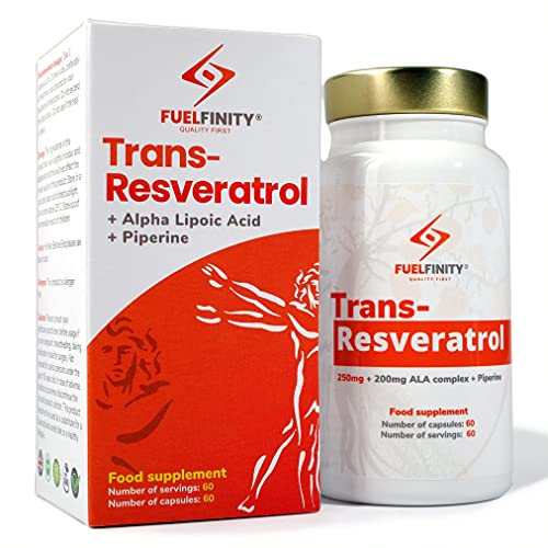 FuelFinity - Resveratrol Supplement - 98% Pure Trans-Resveratrol 250mg/capsule + ALA Complex for Energy Boost - 2 Months Supply (60 Capsules) - no additives - Vegan (Small 60 Capsules)