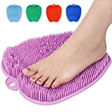 Shower Foot Cleaner Scrubber Massager, Foot Pain Tired Feet Relaxing Acupressure Mat with Non-Slip Suction Cups, Increase Circulation, Exfoliation (Lavender, 10.3 x 9.5 Inches)