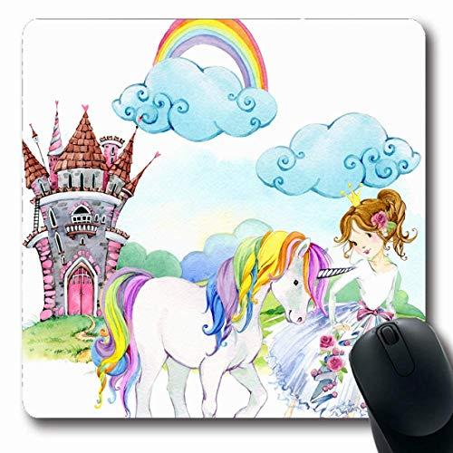 Jamron Mousepad OblongPink Prinzessin Naturaquarell Teenager Märchenkleid Schloss Einhorn Kind Fee Menschen Magie rutschfeste Gummimaus Pad Büro Computer Laptop Spiele Mat.-Nr.