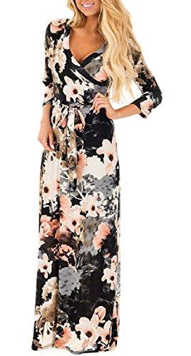 Landove Vestidos Estampados Flores de Verano Cuello en V Manga 3/4 Cintura Alta para Mujer Multicolor Negro 38