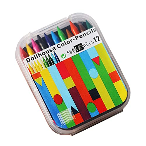 BYyushop Dollhouse Crayon DIY Toy,12Pcs/Box Miniature Crayon 12 Colors Doll Decoration Plastic 12 Colors Crayon Model Scenery Accessory for Photo Props - A
