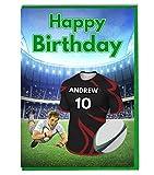 Carte d'anniversaire Motif maillot de rugby – Couleurs saracens – Personnalisable avec un nom et un numéro