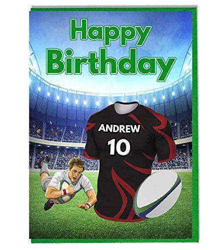 Rugby Shirt Verjaardagskaart - Saracenen Kleuren - Gepersonaliseerd met een naam en nummer